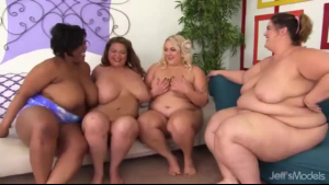 One lucky fat guy is giving pleasure to many hot girls and screaming while cumming