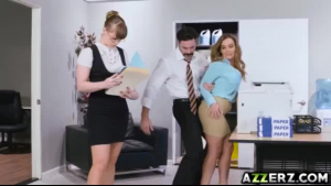 Busty secretary, Natasha Nice gave a sexy massage to her horny boss, in their office
