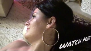Horny brunette nymph with huge boobies masturbating