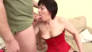 A tall brunette granny exposing pussy